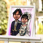 結婚式の似顔絵ウェルカムボード作品例