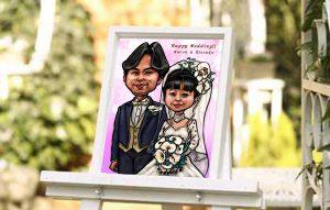 結婚式の似顔絵ウェルカムボード性作例