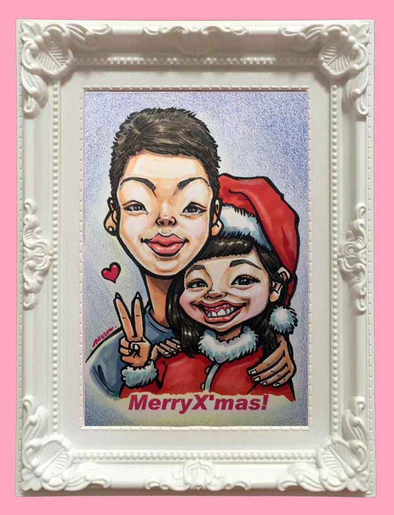 カップルでクリスマスにおすすめの可愛い似顔絵です。