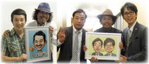カリカチュア似顔絵プレゼントを浅利陽介さんとナイツさんに