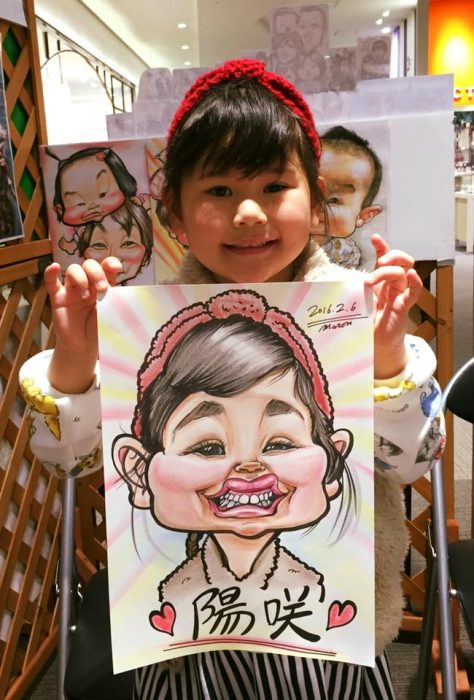 可愛い女の子のカリカチュアスタイルのユーモラスな似顔絵です。