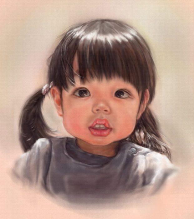 デジタルで描くプレミアム肖像画、少女のあどけなさと光の美しさを表現しています。