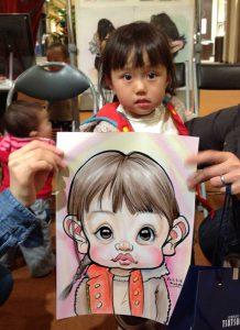 可愛い女の子のデフォルメしたカリカチュア似顔絵は目がポイントです!