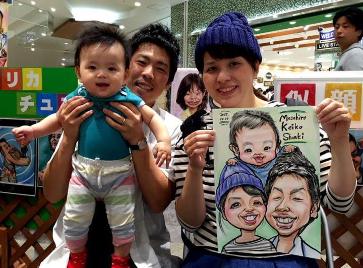 ご家族の似顔絵はバリエーションが豊富で一番得意かもしれません。自分でも上手いと思う似顔絵です。