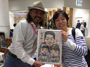 お店で描いた似顔絵作画例です。