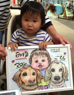 女の子とペットの似顔絵