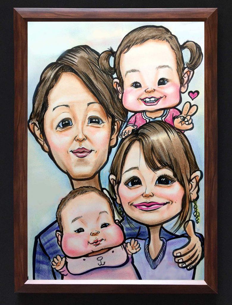 家族で似顔絵