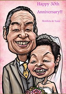 ご両親へ感謝の気持ちを込めて結婚記念日の似顔絵を