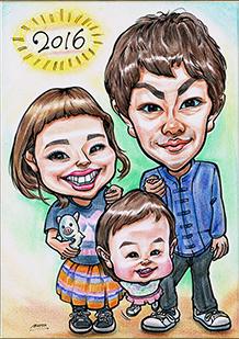 楽しい家族のかわいい似顔絵です。