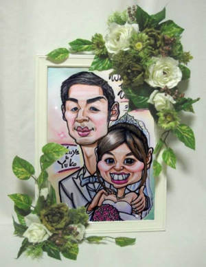 結婚式用の似顔絵ウェルカムボード