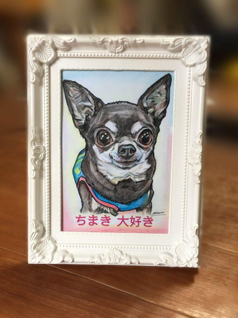 かわいいペット犬似顔絵卓上サイズフレーム付き