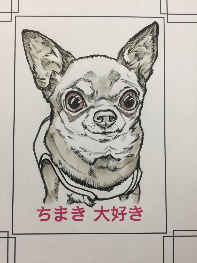アウトラインから。ペット犬似顔絵作画行程を紹介しています。