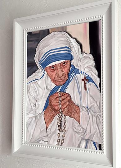 人物画制作注文:マザーテレサの肖像画作品例です。
