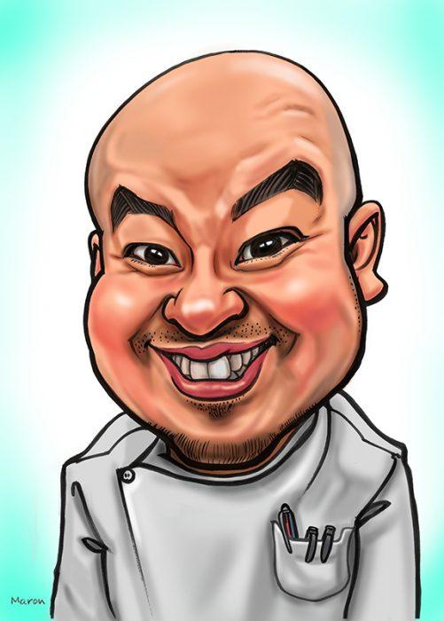 ホームページでもインパクト大!名刺用イラスト制作プロフィール用の似顔絵です。