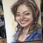 石原里美さんの似顔絵油絵