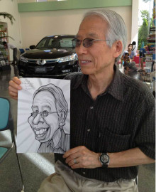 出張似顔絵のイベントでは、お客様と楽しく会話しながらの作画となります。