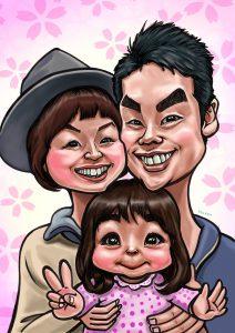 人気の家族の似顔絵です。