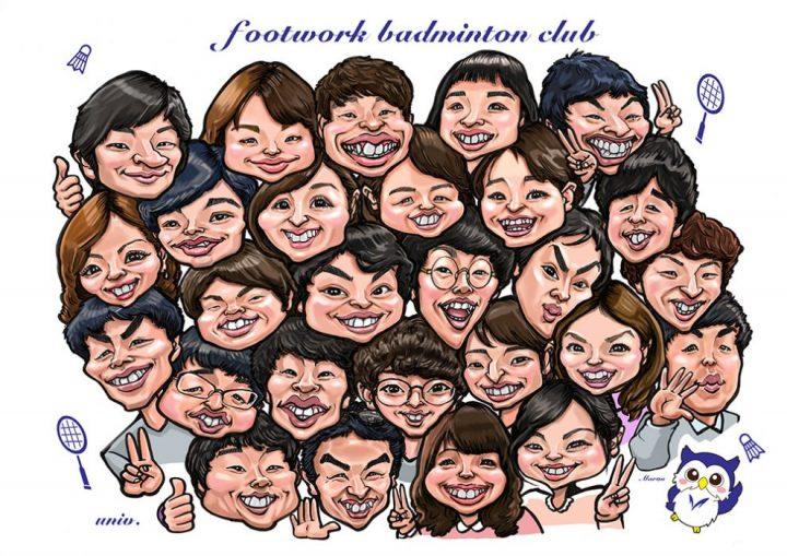 卒業祝いに多人数でのカリカチュア似顔絵プレゼント作画例です。