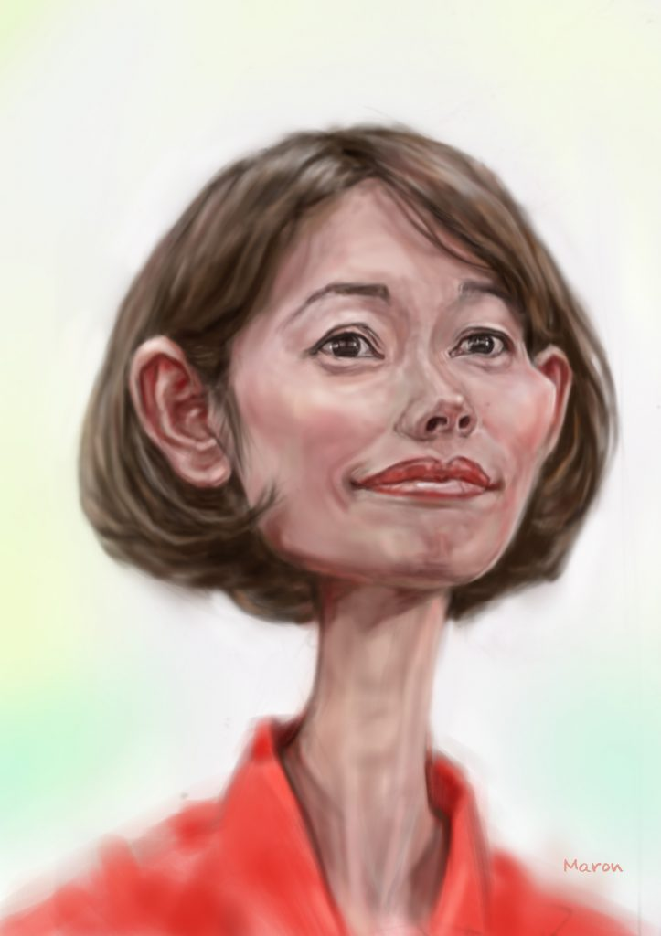 カリカチュア似顔絵・自民党の丸川珠代さんの誇張した似顔絵です。