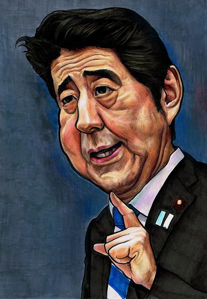 カリカチュアスタイル:安倍首相のデフォルメした似顔絵です。
