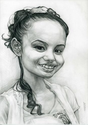若い女性の鉛筆デッサン