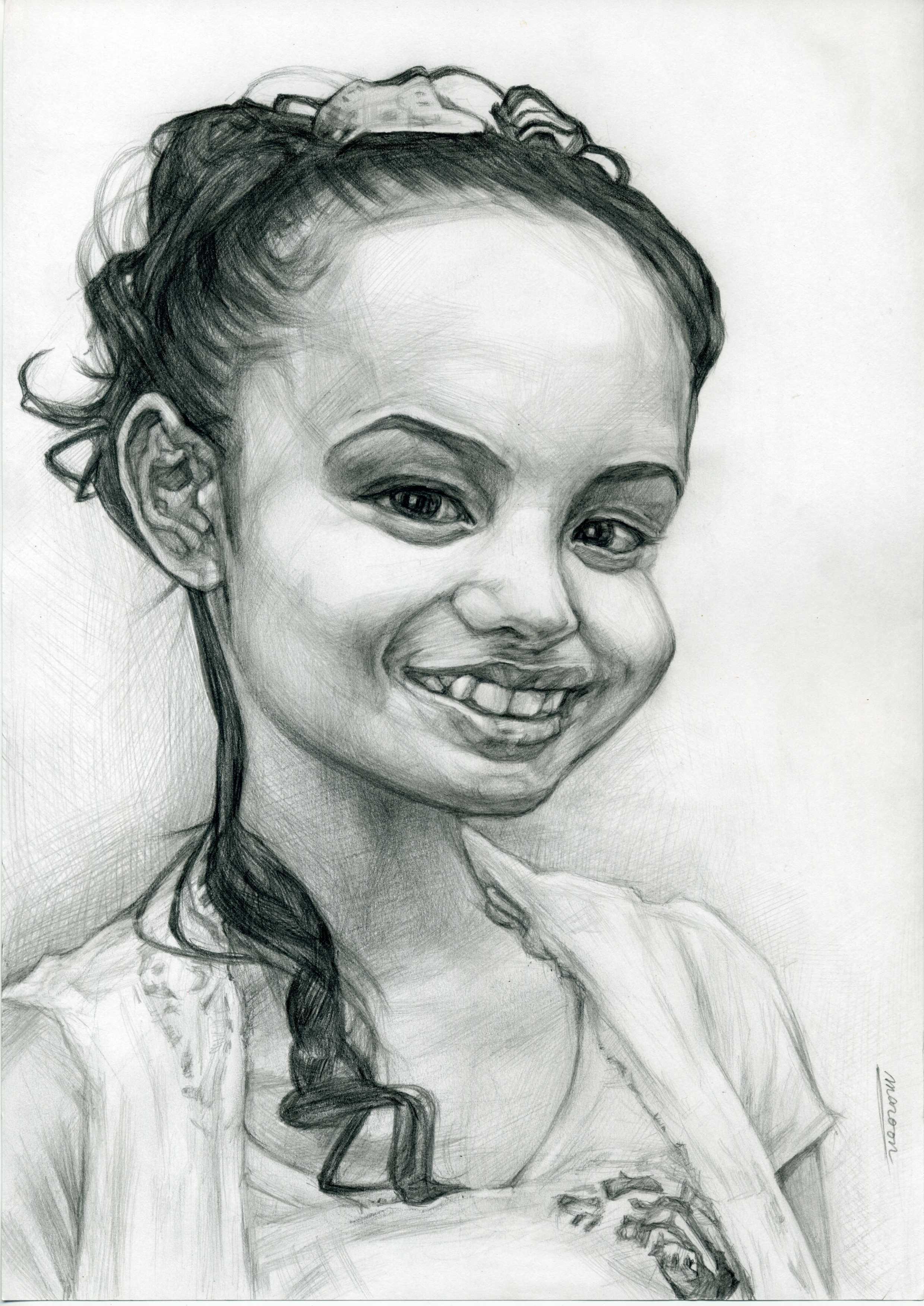 若い女性のデッサン