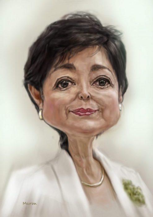 カリカチュア似顔絵・小池百合子東京都知事のデフォルメして誇張した似顔絵です。