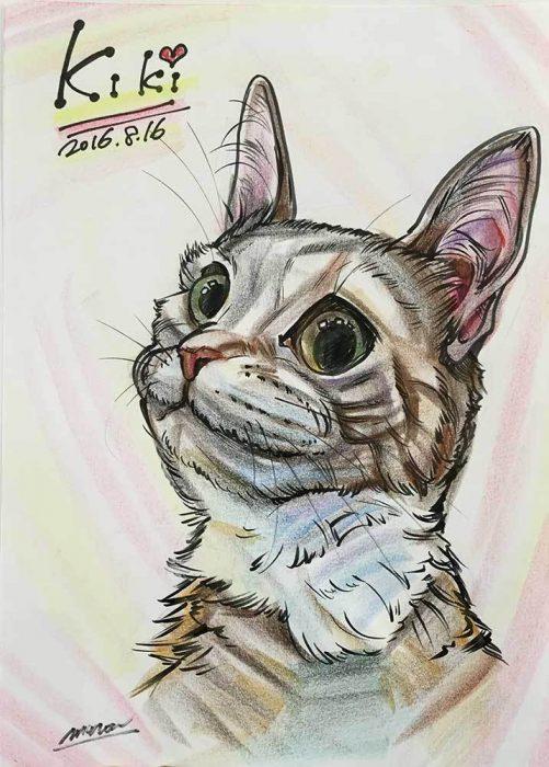 似顔絵制作。可愛いペット猫の似顔絵です。