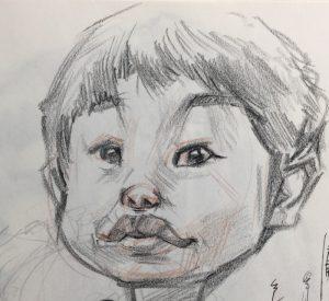 男の子の鉛筆スケッチ
