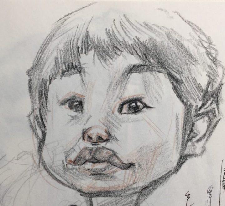 クロッキー作品例。男の子の鉛筆スケッチです。