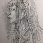 10分で描く女性の鉛筆スケッチドローイング横顔