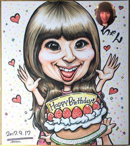 お誕生日プレゼント用の色紙似顔絵作品例