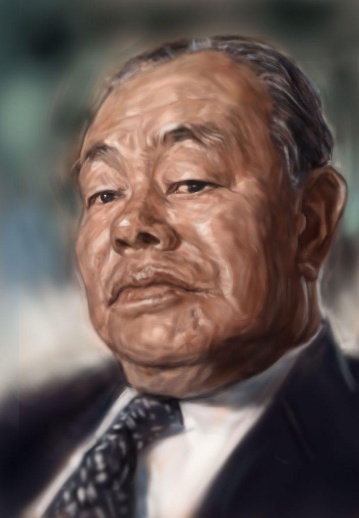 カリカチュア似顔絵・田中角栄の肖像画風の似顔絵です。