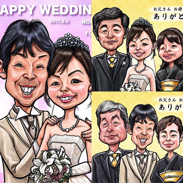 お得な結婚式の似顔絵ウェルカムボードとサンクスボードの3点セットです。