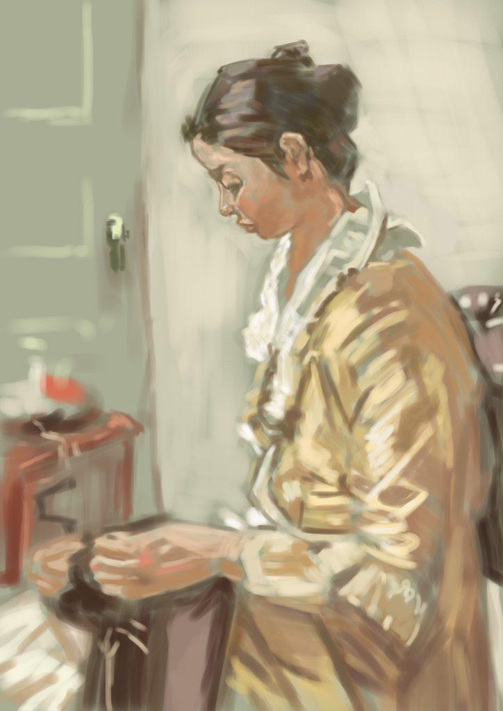 小磯良平さん油絵の模写作品