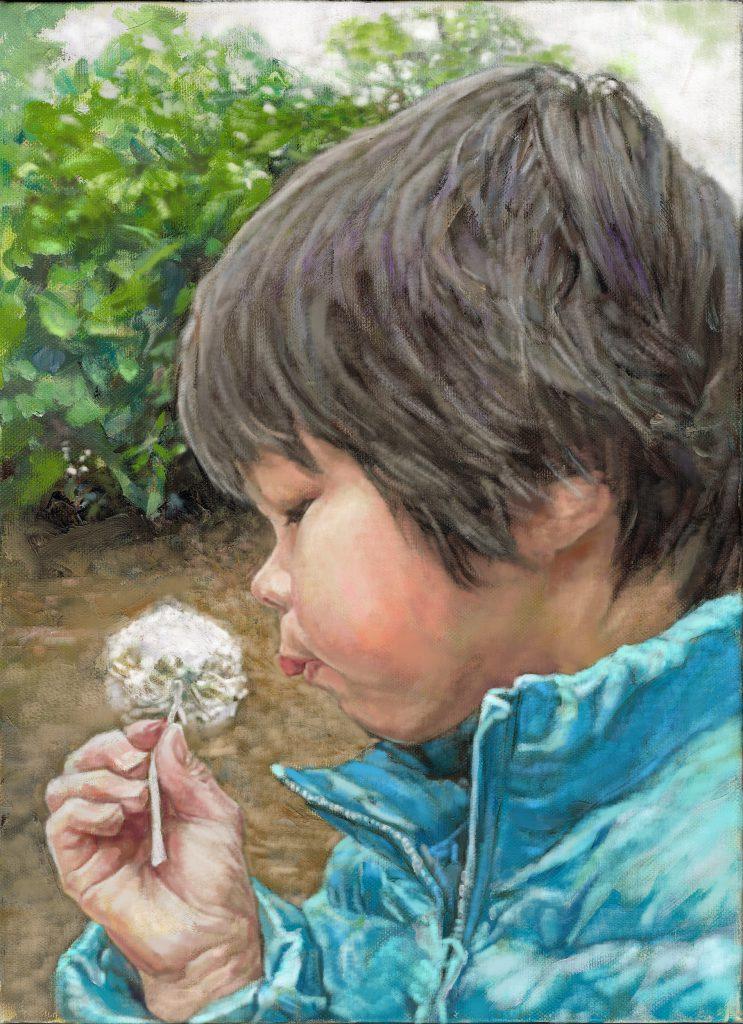 優しい風合いの肖像画です。こどもの油絵作品です。