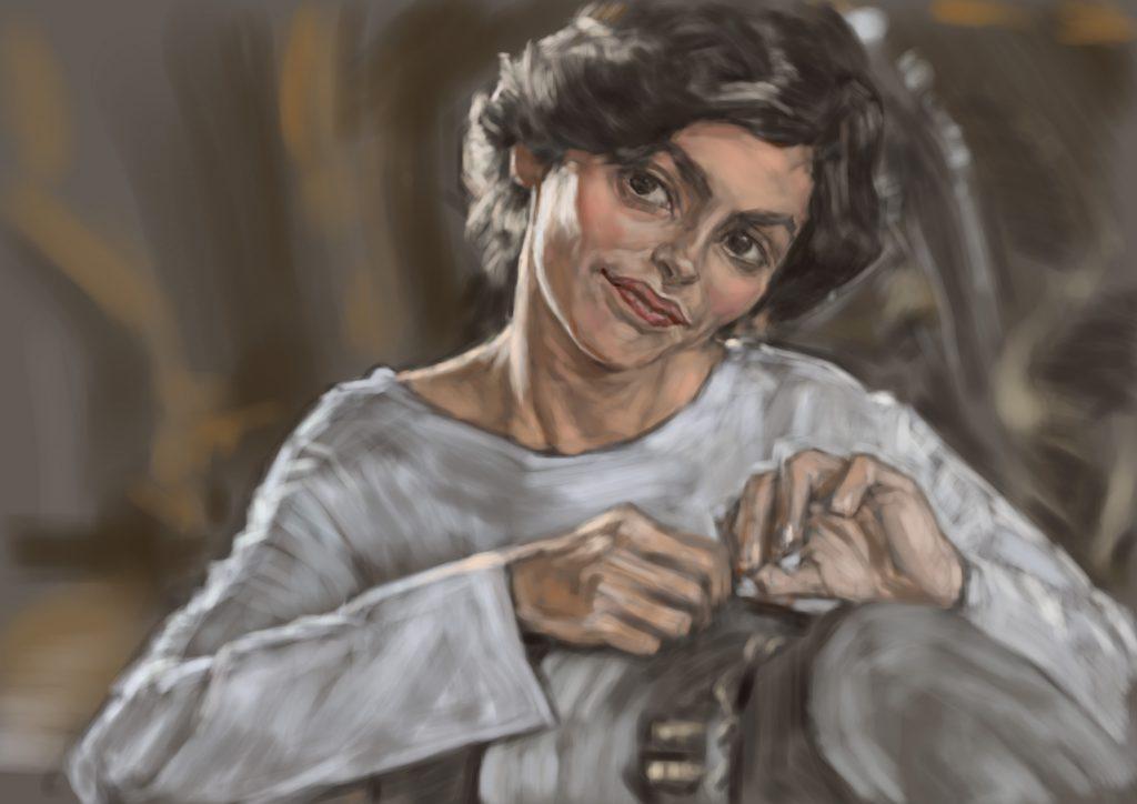 【ココ・シャネル】オドレイ・トトゥをモデルに似顔絵の習作です。