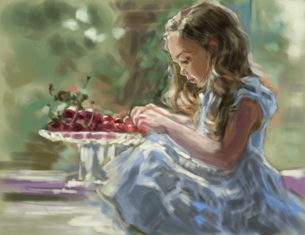 【さくらんぼと少女】光の表現を学ぶため、油絵の模写作品