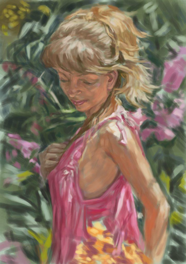 【溢れる木漏れ日】金髪の女性をモデルに油絵の模写作品