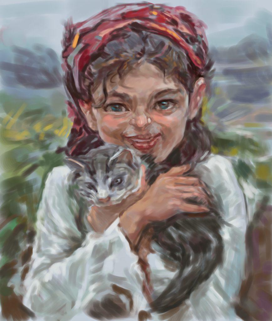 【少女と子猫】油絵の模写作品を描いて練習