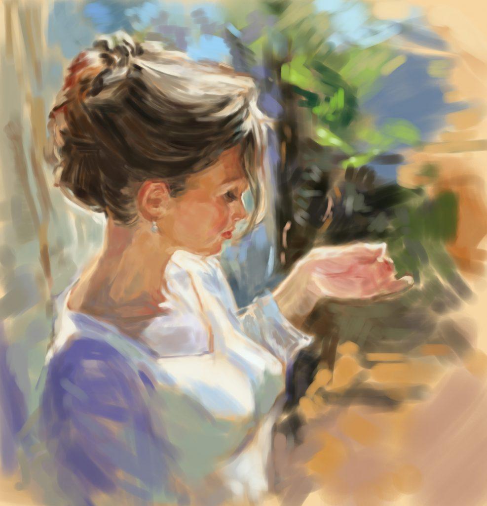 【色彩の美しさと対比】女性の表現を学ぶため、油絵の模写作品