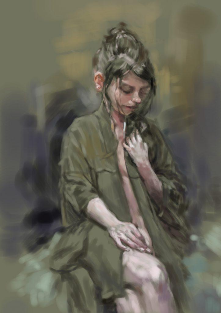 【女の悲しみを表現】油絵の模写作品を描いて練習