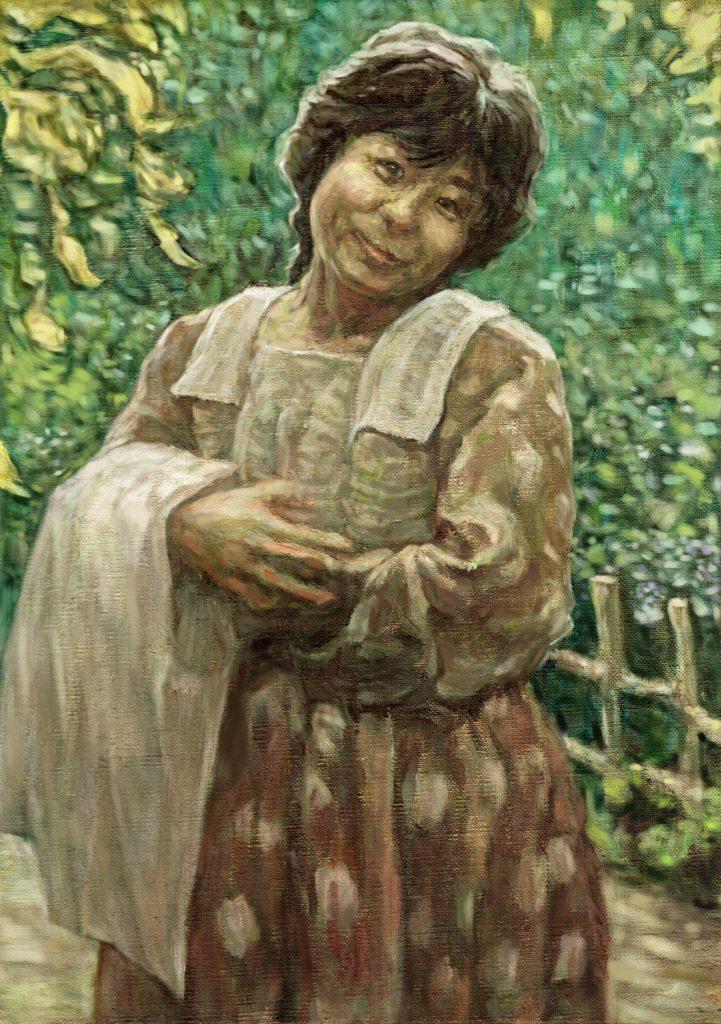 緑につつまれた女性の油絵肖像画、印象派風の優しい風合いが特徴です。