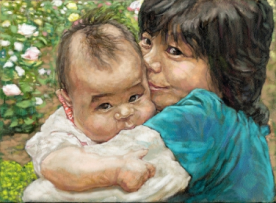 親子の油絵肖像画