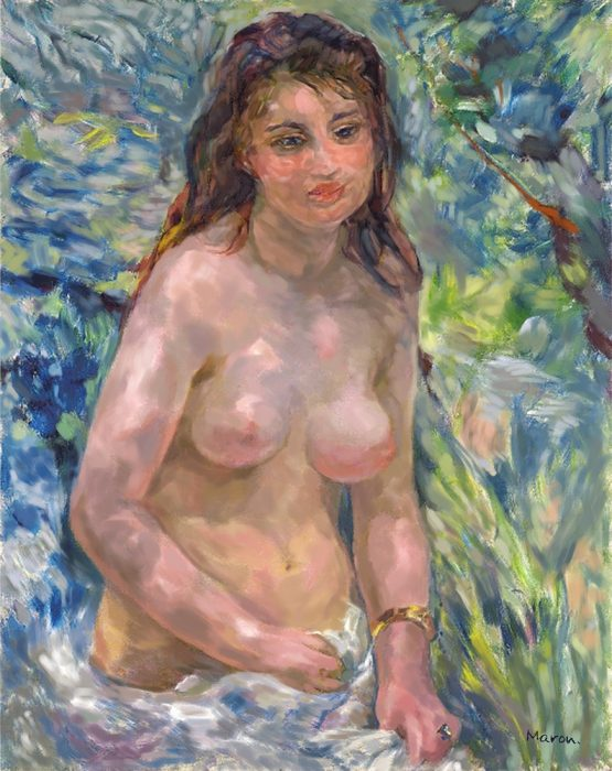 印象派ルノワールの模写作品「陽光のなかの裸婦」花木マロン作