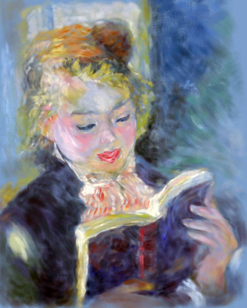 【ルノワールの模写、読書する少女】花木マロンによる油絵の練習作品です。
