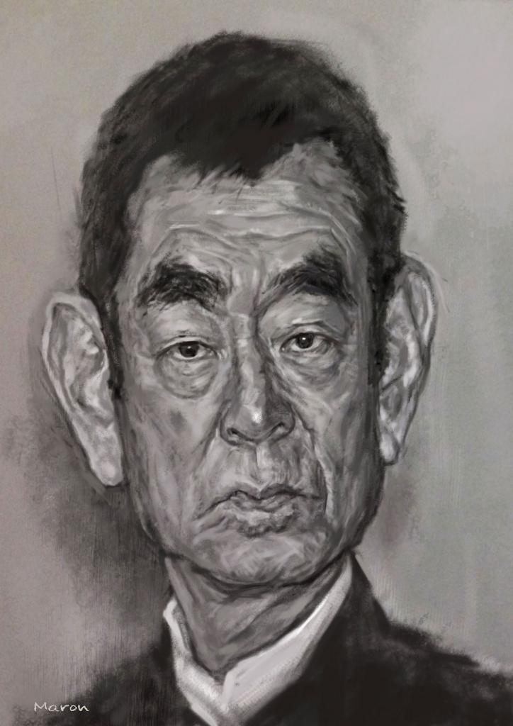高倉健さんのモノクロで渋い似顔絵です。