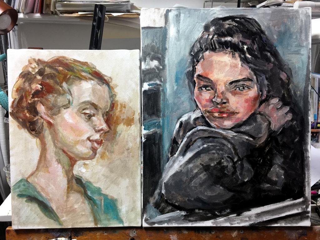 質感を大切にした油絵肖像画制作 途中経過